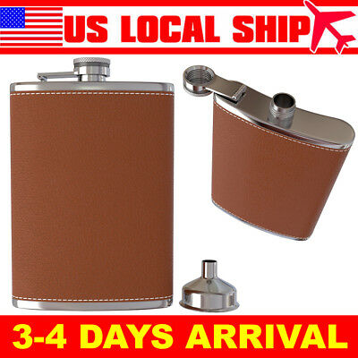 Pocket Hip Flask 8 OZ w/ Funnel 18/8 Stainless Steel Leather Wrapped Cover Brown