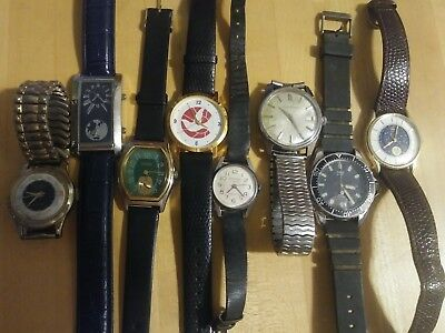 Vintage and new Watch Lot of 8 for Repair Parts wear. Untested