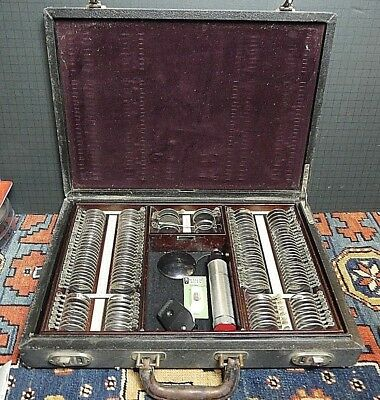 ANTIQUE EYE EXAM OPTOMETRY TEST KIT With Original Case American Optical COMPLETE