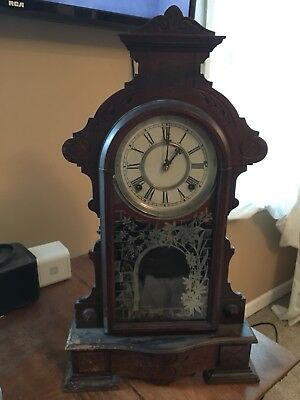 Waterbury Clock Co Gingerbread Shelf Clock With Key & Pendulum NEEDS REPAIR