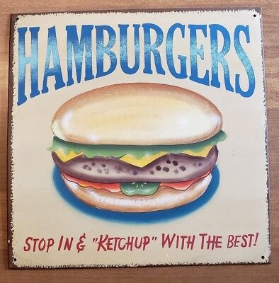 Sign Vintage Advertising Antique Metal Collectible Old Porcelain Hamburgers Hot