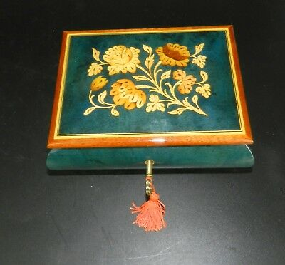 """Reuge Italy Blue Enamel Floral Inlay Wood Music Box, Key, Swiss Movement 6.75"""""""