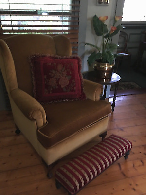 Wing back arm chair - covered in antique gold velvet. Hand Made in Australia