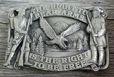 Second Amendment The Right To Bear Arms SISKIYOU 1980's Vintage Belt Buckle