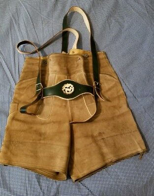 Adult Sm. Genuine German Lederhosen Suede Shorts with Suspender Straps sz 42