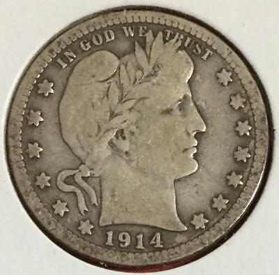 1914 US Barber SILVER Quarter! Very Good! Old US Coins!