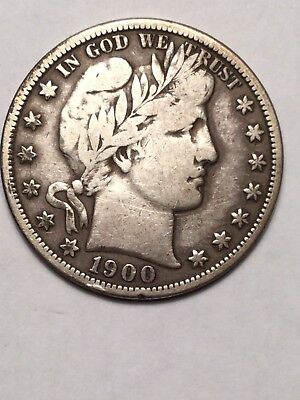 1900-S  Barber Half Dollar 50 Cent Coin. HIgher Grade. Tough Date