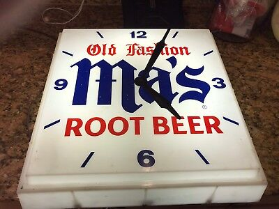 Vintage Ma'S Old Fashion Root Beer Lighted Clock !!!