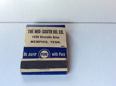 Rare Vintage  PURE Oil Advertising Matchbook Cover Memphis, Tennessee