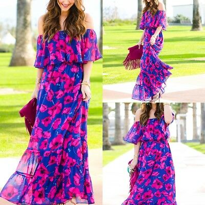 Fashion Women Summer Retro Boho Long Maxi Party Beach Dress Floral Sundress Lot