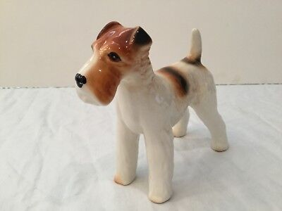 Dog Figurine Terrier Bone China England standing white brown green label ware
