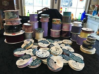 Large Lot Of Spools Of Ribbon-New&Used, Tulle, Wired, Different Colors