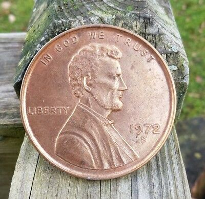"""Vintage Large 3"""" Novelty 1972 S Lincoln Penny One Cent Coin Medallion"""