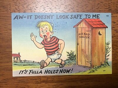 WWII Air Raid Shelter Home Front It Doesn't Look Safe Post Card