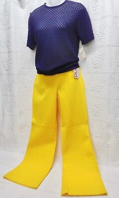 """Nwt 60's Vintage """"garland"""" Knit Bell Bottom Pants/popcorn Knit Top--Yellow/navy"""