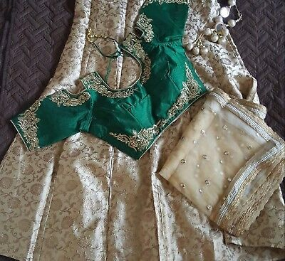 USA Lehenga choli ready made embroidered green gold