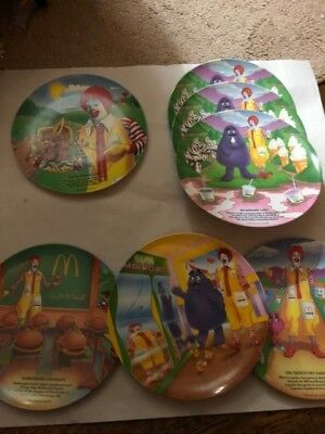 Lot of 7 Vintage 1989 1993 McDonalds Characters Collectible Melamine Plates