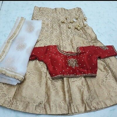 USA Lehenga choli ready made embroidered white red gold