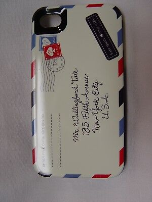 Kate Spade Pre-Owned Nice iPhone 4 & 4S Hard Shell Case ENVELOPE AIRMAIL Cute!