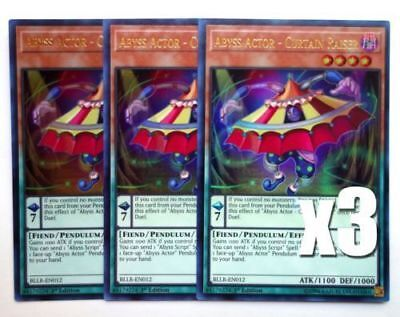 x3 Abyss Actor - Curtain Raiser - BLLR-EN012 - Ultra Rare - FREE SHIPPING
