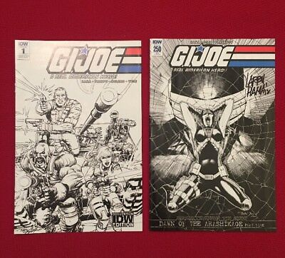 GI Joe Real American Hero Re Cover 1 Convention 250 SIGNED Larry Hama Lot G.i.