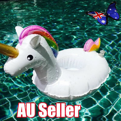 Unicorn Swimming Inflatable Floating Boat Drink Can Cup Holder Bath Beach Toy NW