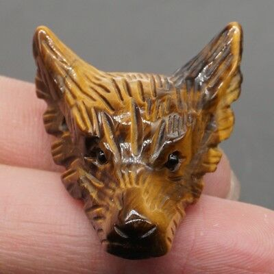 Howling Wolf Natural Yellow Tiger Eye Pendant Carved Stone Necklace Jewelry
