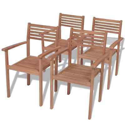 vidaXL 4x Teak Outdoor Stackable Chairs Patio Dining Stacking Seats Furniture