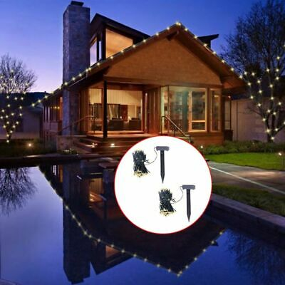 vidaXL 2x LED Solar String Lights Warm White Holiday Christmas Decor Lamps