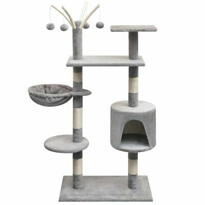 vidaXL Cat Tree with Sisal Scratching Posts 125 cm Grey Play Tower Furniture