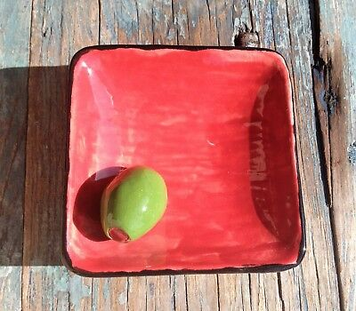 Olive Oil Dipping Dish Red Ceramic Pottery Small Square Bowl, With Green Olive