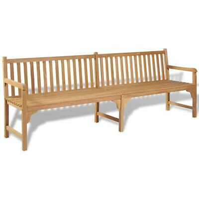 vidaXL Teak Outdoor Bench 240x62.5x90 cm Backyard Garden Patio Furniture Seat