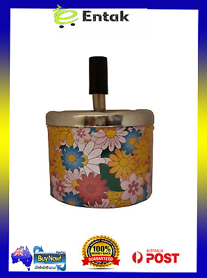 Metal Ashtray With Spin Top - Flower Print - Hippy - Home Decor - Tobacco - Bar