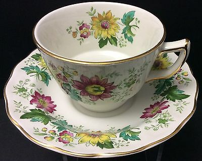 Beautiful Booths Cup Saucer 6 Sets Victoria Pattern England Multi Colour Floral
