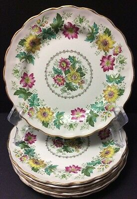 Beautiful Booths 6 Dessert Plates Victoria Pattern England Multi Colour Floral