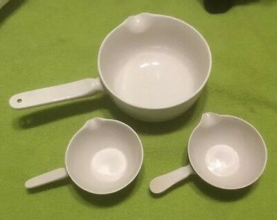 3 Pc Vintage Coors Ceramics White Pharmaceutical Cooking Small Mixing Bowls RARE