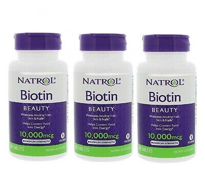 Natrol Biotin Max Strength 10000mcg x 3 HAIR SKIN NAILS (300 Tabs) TRIPLE PACK