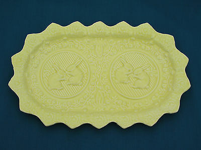 "Bordallo Pinheiro Yellow Rabbit 13.25"" Oval Sandwich Tray Platter - For Easter"