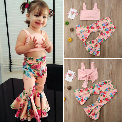 Fashion Kids Baby Girl Floral Bra Top Bell-bottom Pants Outfit Clothes Summer US