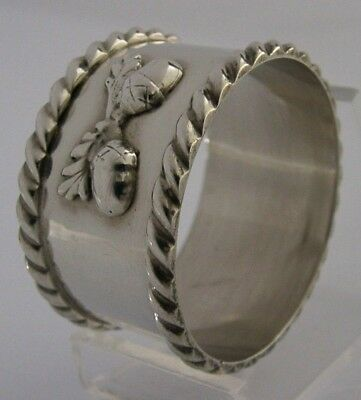 Solid Sterling Silver Arts And Crafts Acorn Design Napkin Ring London 1988