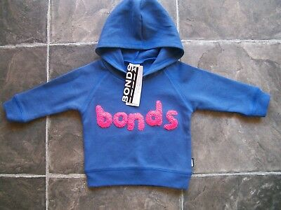 BNWT Baby Boy's Bonds Blue & Orange Hoodie/Hooded Jumper Size 00