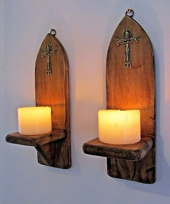 Pair 30Cm Reclaimed Wood Gothic Arch Led Candle Holders Sconces Bronze Crucifix