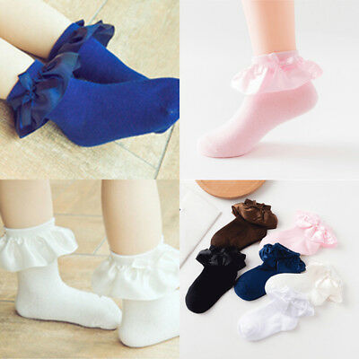 Newborn Baby Girl's Toddler Lace Ruffle Frilly Cotton Ankle Anti Slip Socks