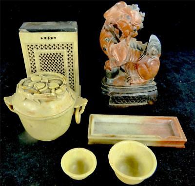 Antique / Vintage Chinese Carved Soapstone Chi Chi Lion Dog Cricket Box Pot Bowl