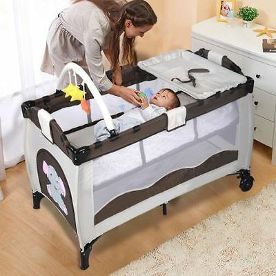 New Baby Crib Playpen Playard Pack Travel Infant Bassinet Bed Foldable Coffee