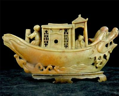 Antique / Vintage Chinese Carved Soapstone Junk Ship Dragon Boat Figures