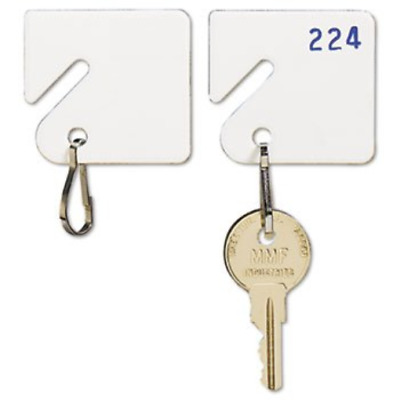 MMF Industries Slotted Rack Key Tags, Plastic, 1.5 Inch Height, White, 20 per As
