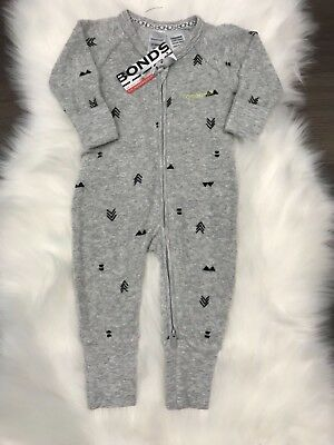 NWT Bonds Baby Unisex Grey Terry Symbol Print Zip Wondersuit Size 00-2 RRP$24.95