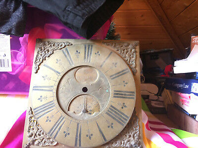 Antique Long Case Clock Brass Face In Need Of Restoration