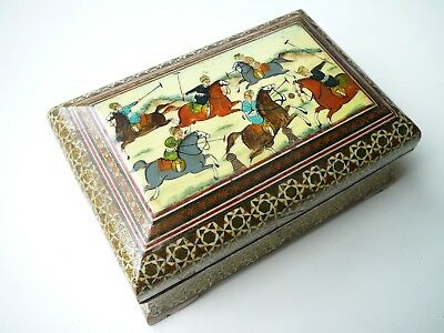 Antique Rare Persian Turkish Ottoman Wood Decorated Gold Hand Painted Horse Man
